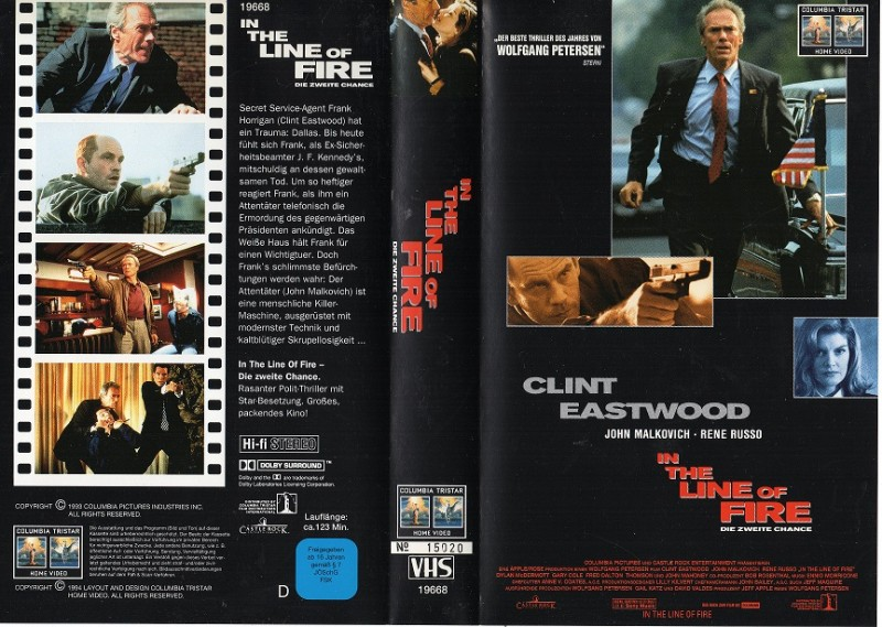IN THE LINE OF FIRE -Clint Eastwood- RARITÄT- gr. Cover- VHS