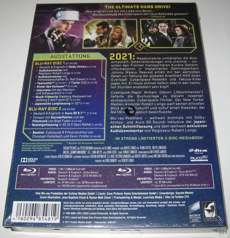 Vernetzt - Johnny Mnemonic - Limited Edition Mediabook (OVP)