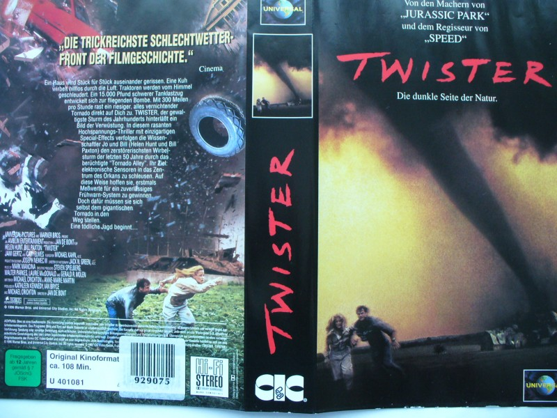 Twister ... Helen Hunt, Bill Paxton  ... VHS !!!