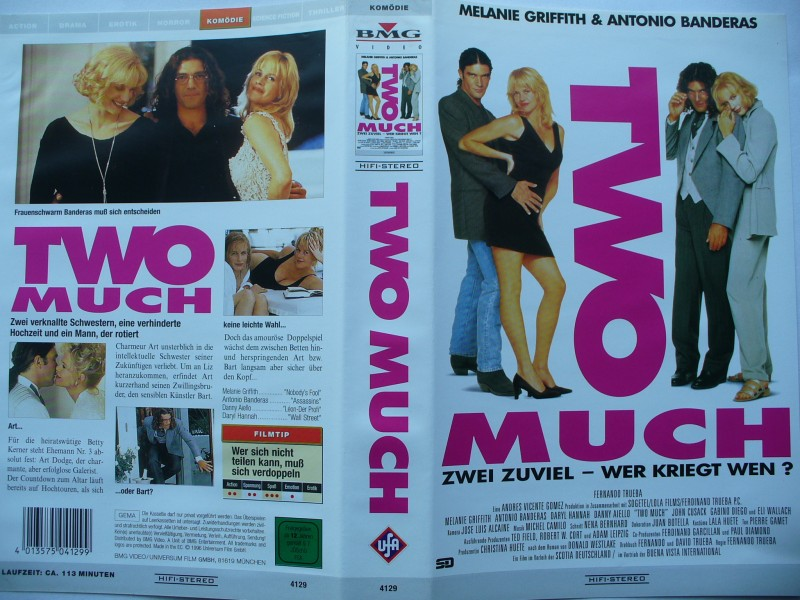 Two Much ... Melanie Griffith, Antonio Banderas ...  VHS