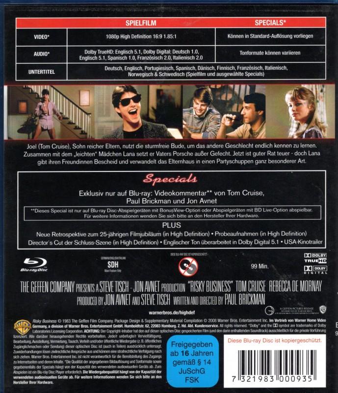 RISKY BUSINESS LOCKERE GESCHÄFTE Blu-ray Tom Hanks Klassiker