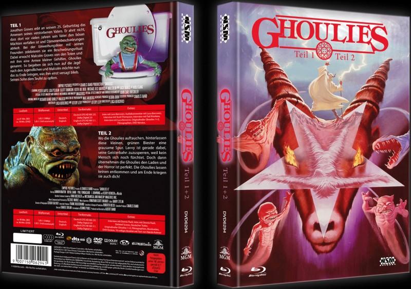 GHOULIES 1&2 - 2Blu-Rays+2DVD Mediabook Lim 444 OVP