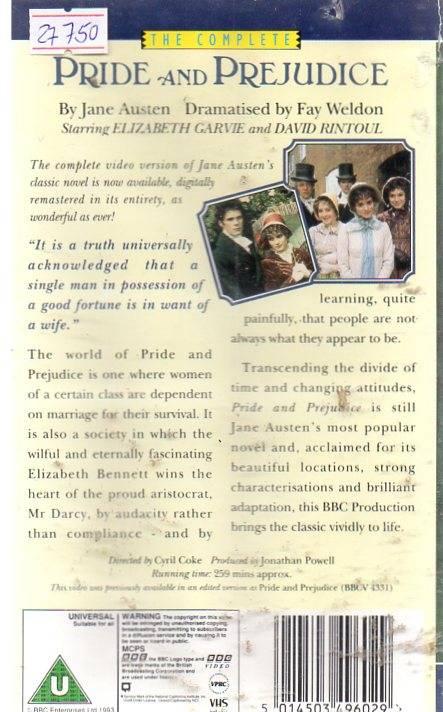 Pride And Prejudice (27750) 2 VHS