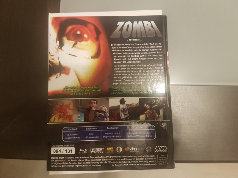 Zombie Dawn of the Dead - NSM Blu-Ray Hartbox - Argento Cut