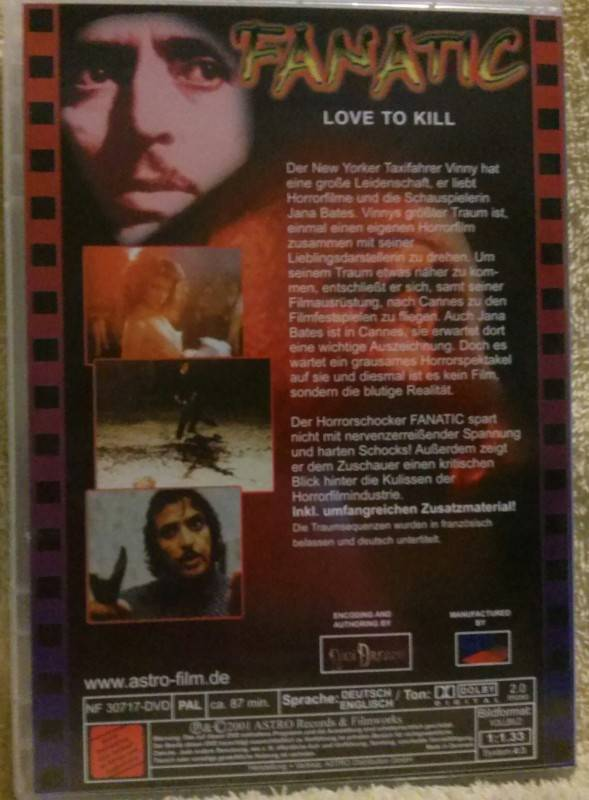 Fanatic aka Love to kill Dvd Uncut (G) Astro