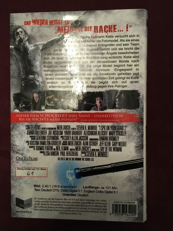 I spit on your Grave 2 ILLUSIONS gr.Hartbox B, DVD, wie neu