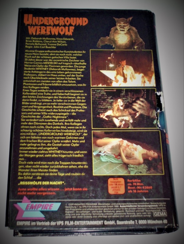 EMPIRE Hartbox - UNDERGROUND WEREWOLF Horror VHS KLASSIKER
