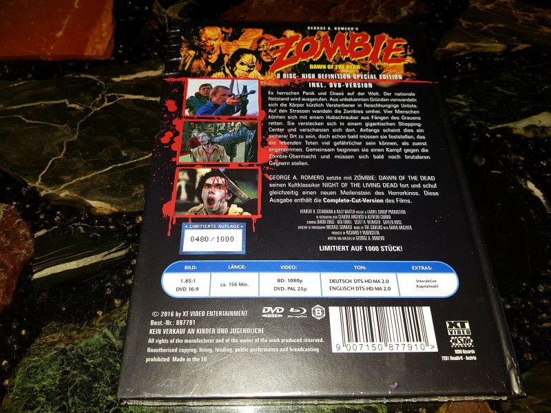 ZOMBIE DAWN OF THE DEAD COMPLETE CUT MEDIABOOK NEU OVP XT