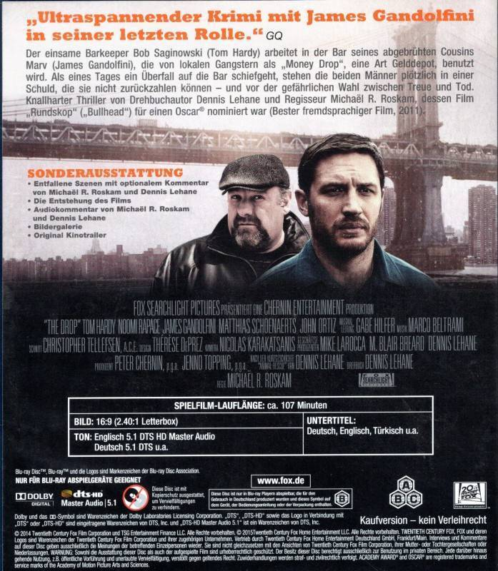 THE DROP Bargeld - Blu-ray Tom Hardy Noomi Rapace - super!