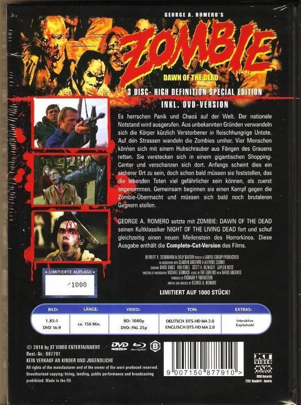 Zombie Dawn Of The Dead Mediabook XT Complete Cut Uncut Ovp