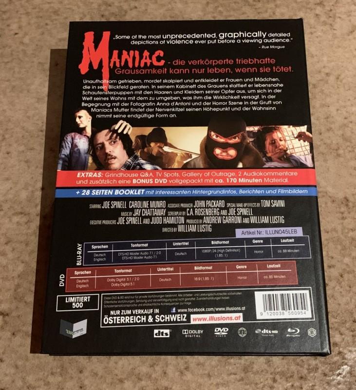 Blu-ray/DVD * MANIAC (1980) * 3 Disc Mediabook