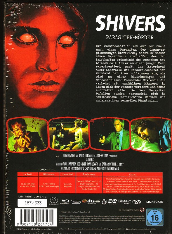 Shivers NSM Mediabook B Limited 333 Parasiten-Mörder Uncut