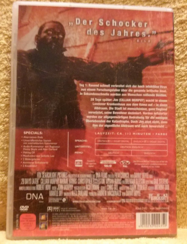 28 DAYS LATER Dvd Uncut