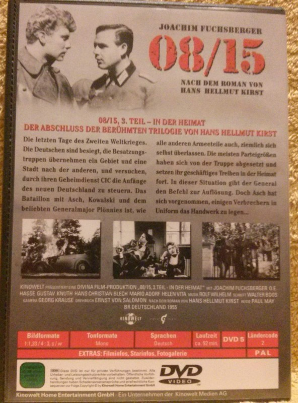 08/15 Teil 3 in der Heimat DVD O. E. Hasse/ J. Fuchsberger