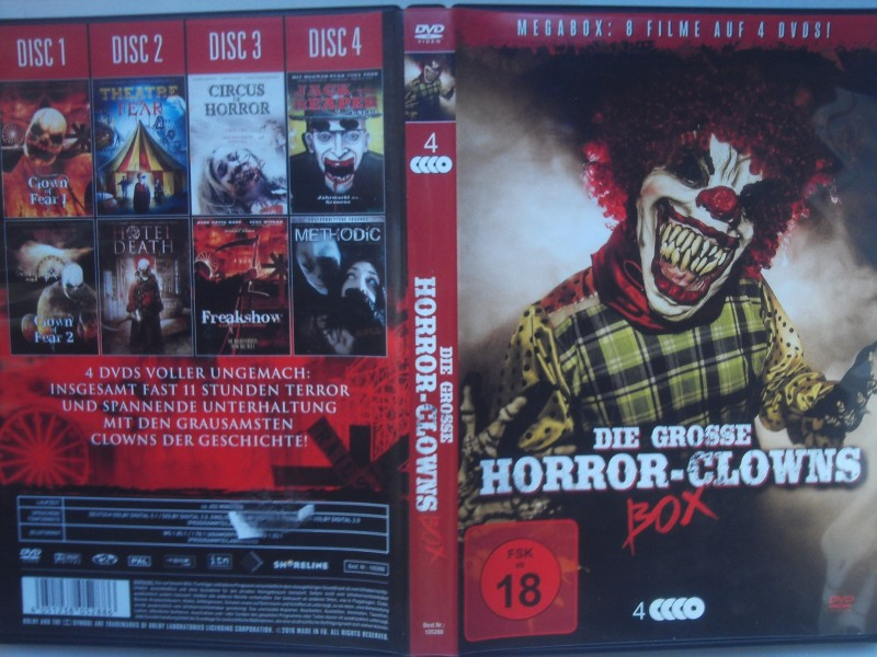 4-DVD-Box Horror-Clowns, 8 Filme