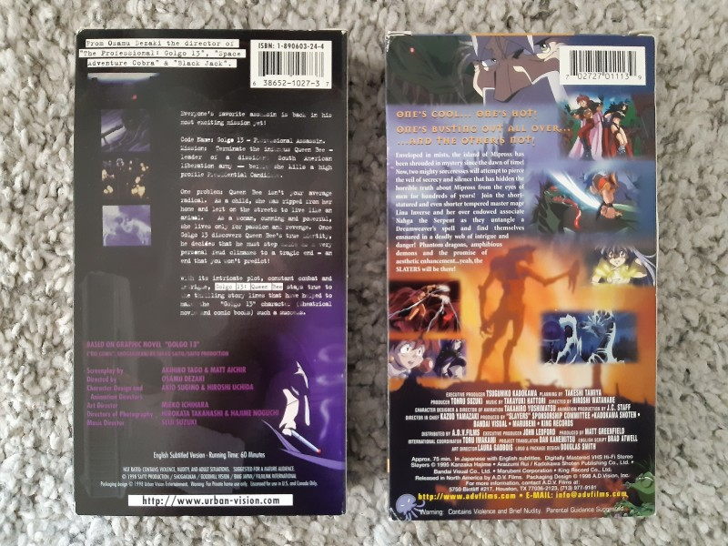 Golgo 13 + Slayers Motion Picture (VHS) Video Anime Manga