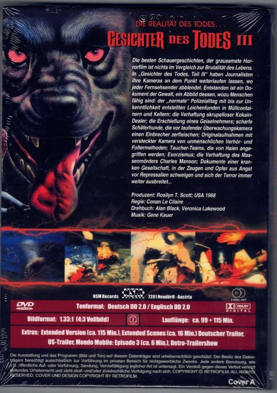 GESICHTER DES TODES III KL. Hartbox DVD NEU Cover A