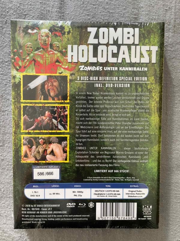* * ZOMBIES UNTER KANNIBALEN - ZOMBI HOLOCAUST - BLU RAY/DVD - MEDIABOOK - WATTIERT - XT VIDEO - NEU & OVP * *