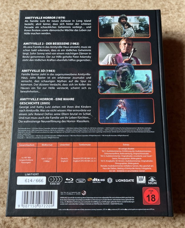 Blu-ray * THE AMITYVILLE HORROR Collection * Teil 1,2,3 inkl. Remake * Mediabook