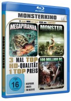 Monsterkino Ovp Uncut Blu-ray 3-Filme Box Megapiranha 100 Mi